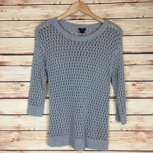 Ann Taylor Open Knit Sweater 3/4 Sleeves Gray MP